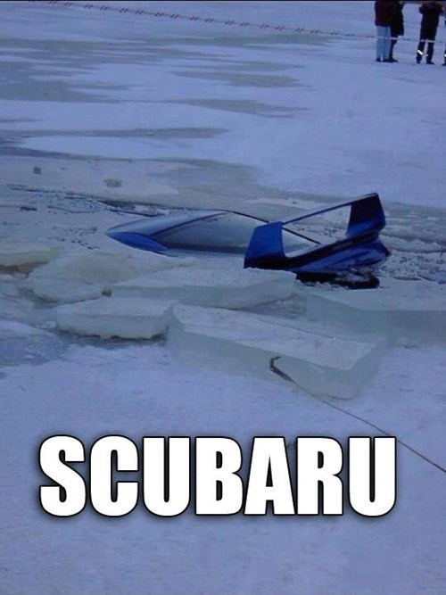 accident,car,ice,portmanteau,similar sounding,scuba,subaru,water