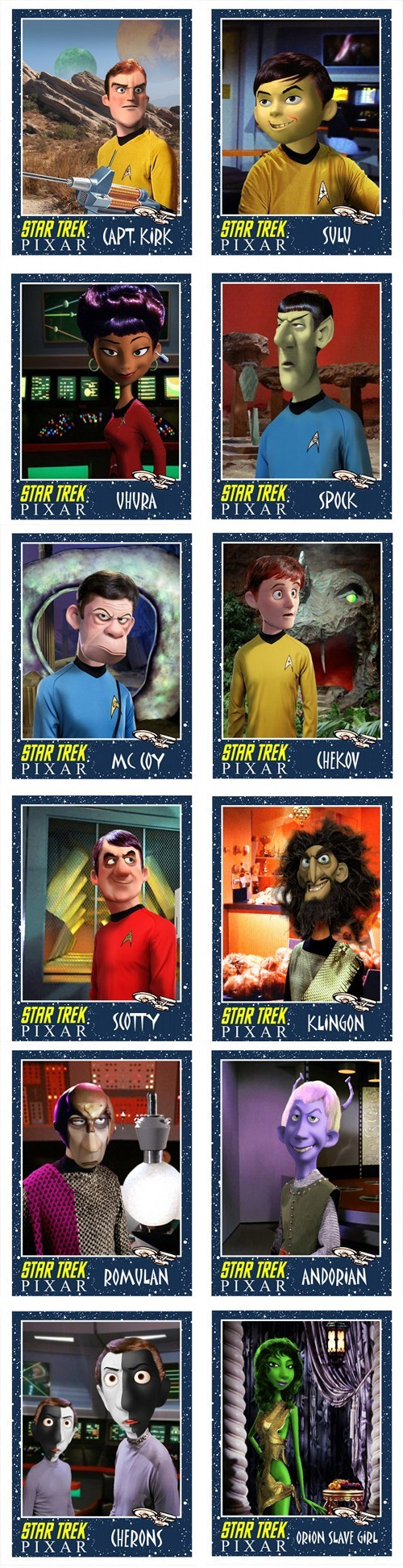 Captain Kirk,Fan Art,Star Trek,mashups,McCoy,Spock,pixar,sulu,uhura,scotty