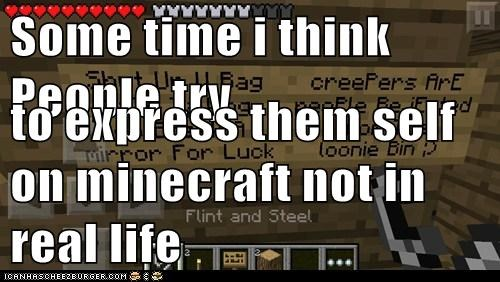 Some time i think People try  to express them self on minecraft not in real life