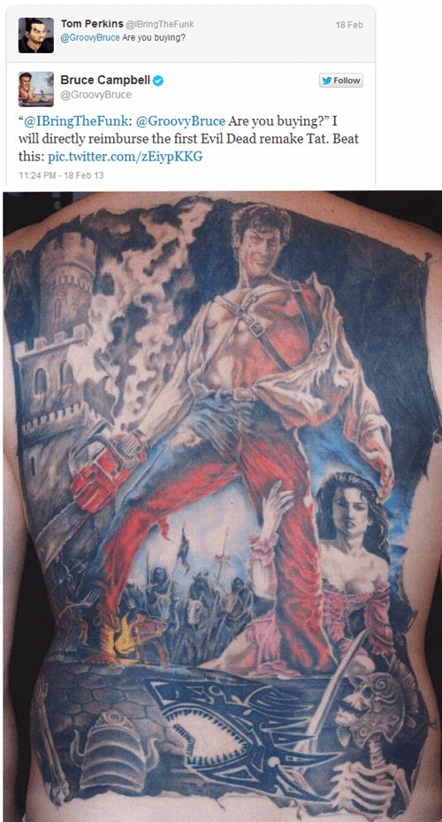 twitter,evil dead,bruce campbell,back tattoos