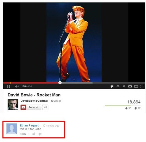 rocket man,youtube comments,david bowie,elton john
