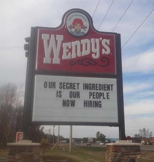 accidental gross restaurant sign wendys Soylent Green fail nation - 7080859648