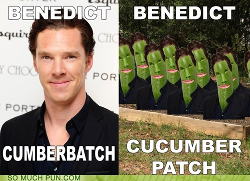 benedict cumberbatch patch shoop cucumber similar sounding - 7081199360