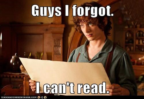 Lord of the Rings Frodo Baggins cant-read The Hobbit elijah wood forgot