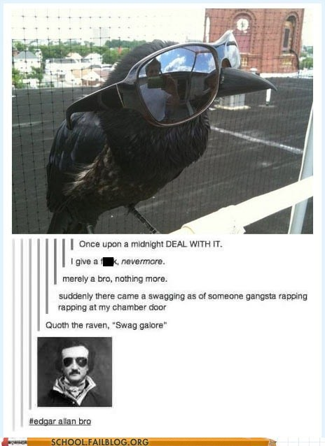 sunglasses,raven,edgar allen poe,g rated,School of FAIL