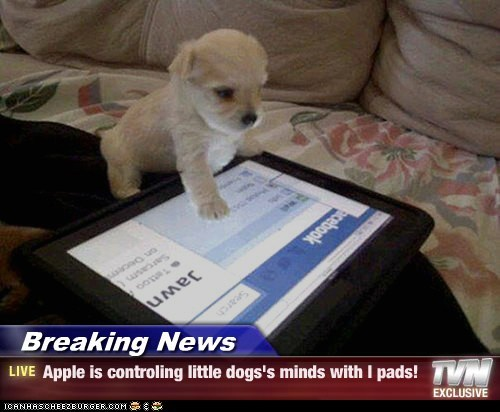 Breaking News - Apple is controling little dogs's minds with I pads!