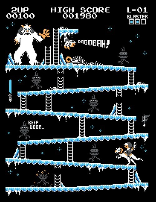 donkey kong,star wars,Hoth,wampa,Fan Art,luke skywalker,video games