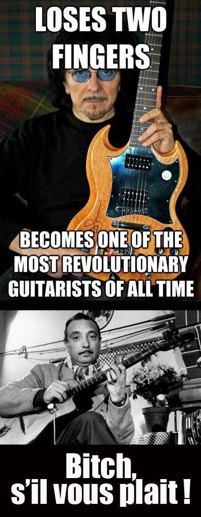 guitars,django reinhardt,tony iommi