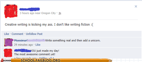 unicorn,facebook,creative writing