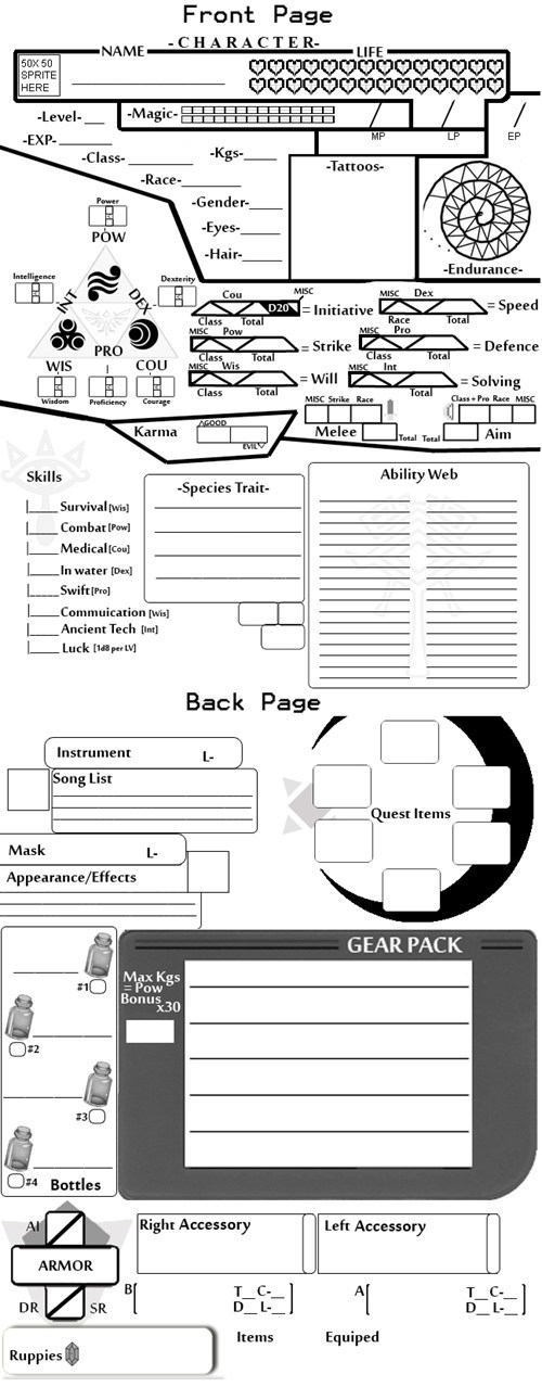 tabletop games dnd legend of zelda video games character sheet - 7083844608