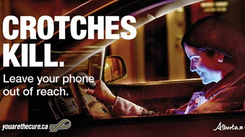 texting and driving,out of reach,crotch,dangerous