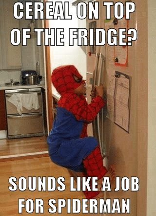 refrigerator Spider-Man cereal g rated parenting