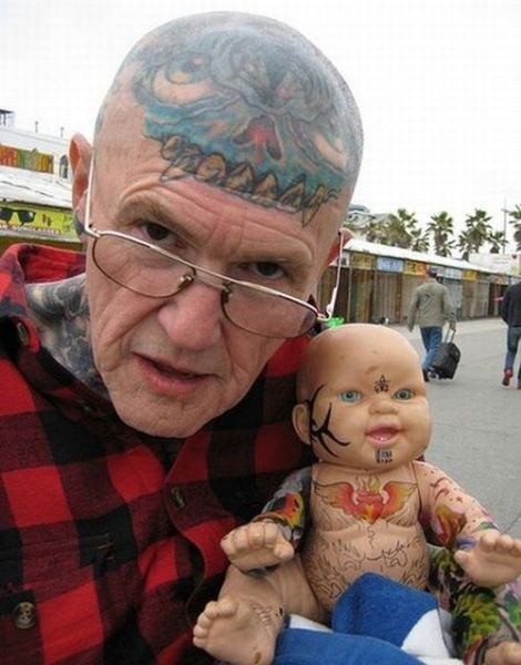 baby tattoos,creepy,head tattoos