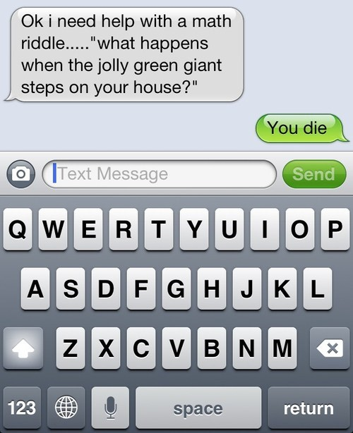 iPhones jolly green giant Death word problems