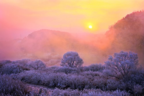 winter,pretty colors,sunset