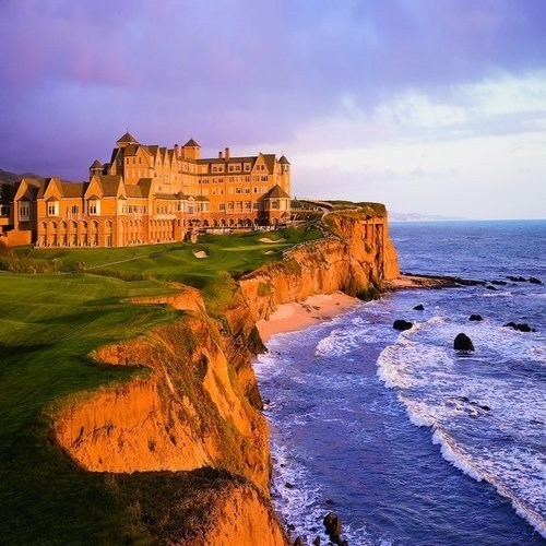 hotel,beach,landscape,cliffs
