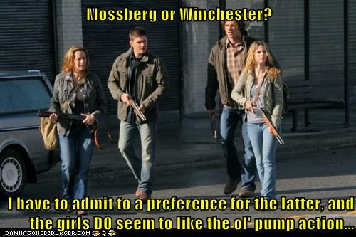 Mossberg or Winchester?  I have to admit to a preference for the latter, and the girls DO seem to like the ol' pump action...
