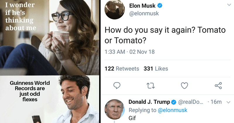 dank edgy memes | woman drinking coffee wonder if he's thinking about Guinness World Records are just odd flexes. Elon Musk do say again? Tomato or Tomato? Donald J. Trump Replying elonmusk Gif