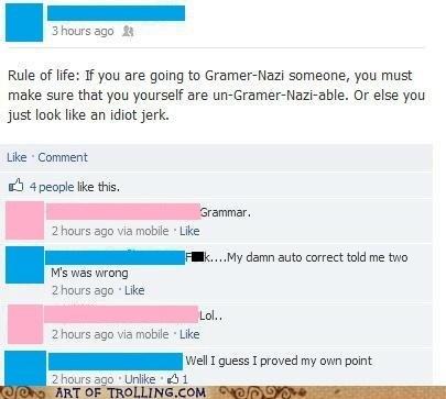grammar nazi auto correct facebook