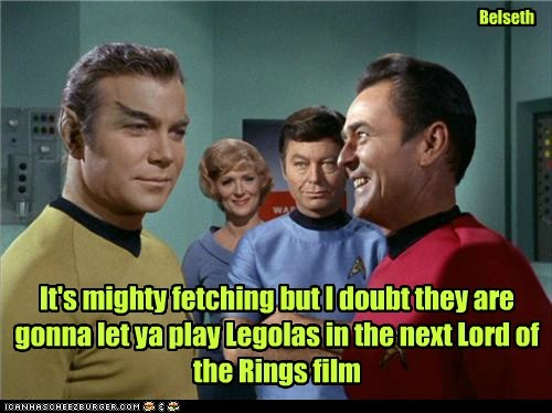 Captain Kirk legolas Lord of the Rings scotty McCoy eyebrows DeForest Kelley Star Trek William Shatner james doohan