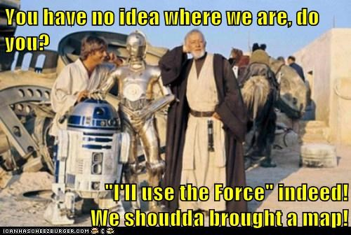 obi-wan kenobi Alec Guinness star wars directions map luke skywalker lost Mark Hamill - 7088881664