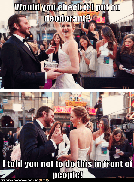 embarrassed jennifer lawrence deodorant oscars 2013 bradley cooper - 7091590400