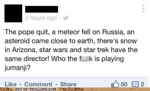jumanji meteor star wars pope facebook Star Trek - 7091742976