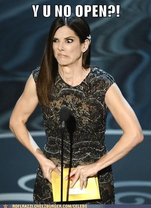 Y U NO,envelope,Sandra Bullock,stuck,open,oscars 2013