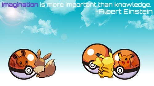 Pokémon,eevee,pikachu,imagination,albert einstein