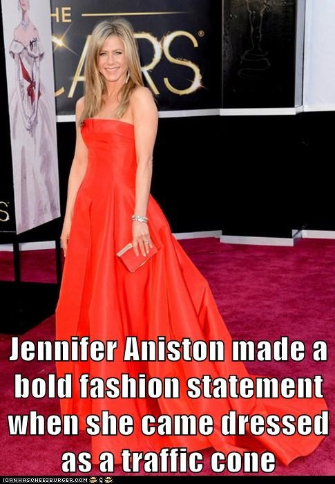 fashion,traffic cone,jennifer aniston,oscars 2013