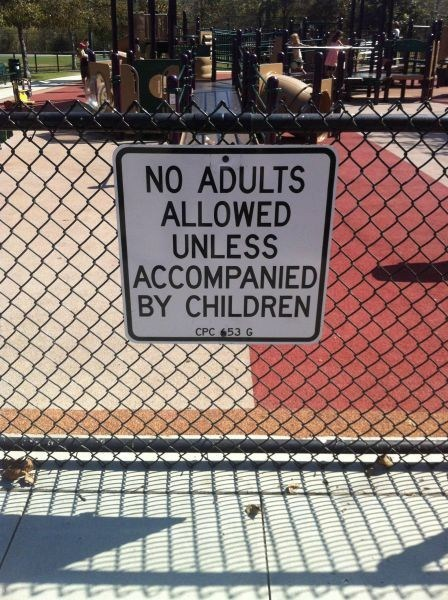 no adults,signs,playgrounds