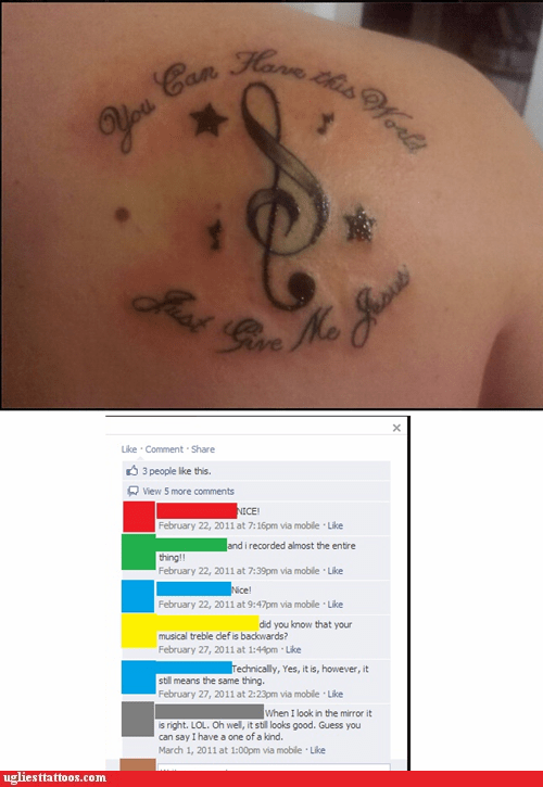Music,treble clefs,facebook,back tattoos