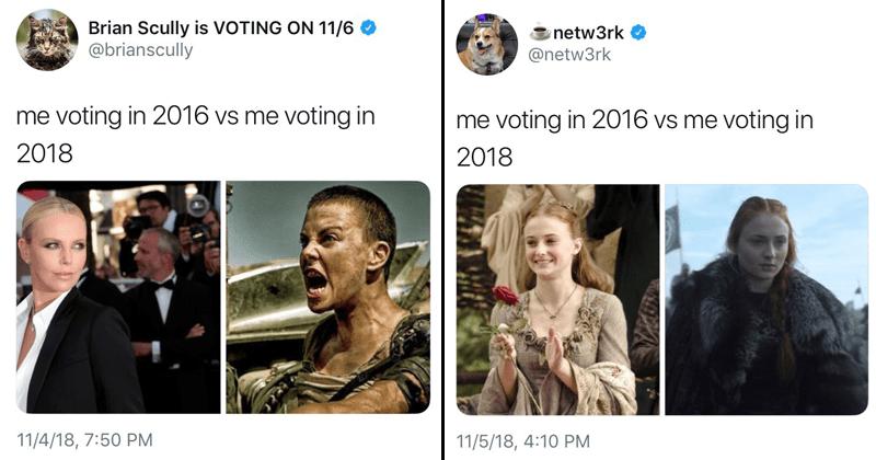 Me voting in 2016 vs me voting in 2018.