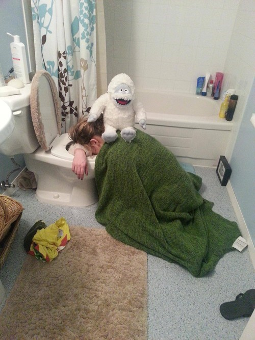 abominable snowman,here to help,passed out,too drunk