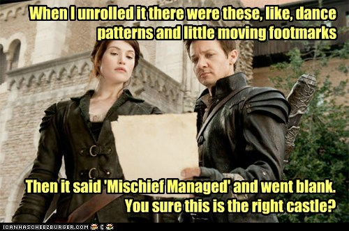 castle hansel and gretel witch hunters mischief managed map gemma arterton Jeremy renner - 7093969152