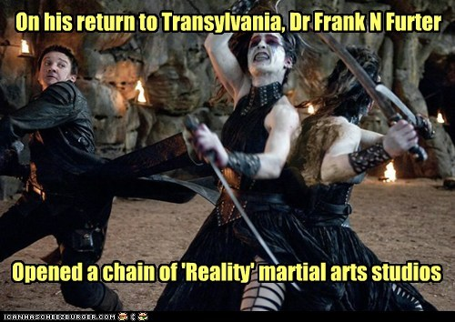 hansel and gretel witch hunters,martial arts,Jeremy renner,The Rocky Horror Picture Show,dr frankenfurter,transylvania