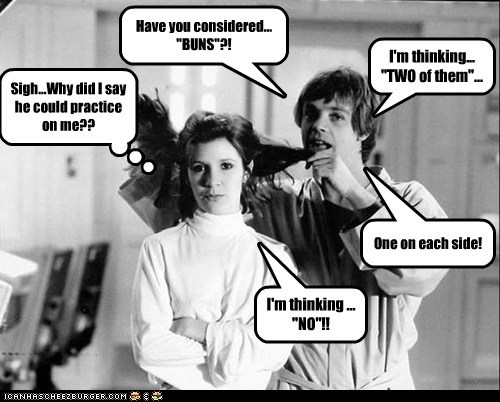 hair star wars annoying luke skywalker buns carrie fisher Princess Leia Mark Hamill