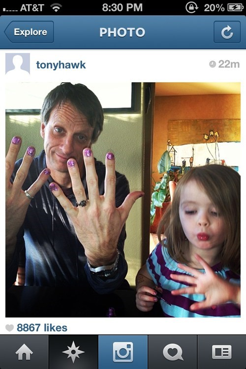 nail polish,tony hawk,fatherdaughter,g rated,Parenting FAILS