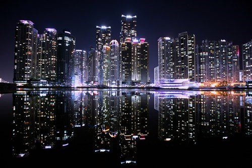 reflection,cityscape,korea,busan,night