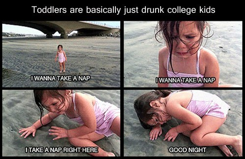 drunk,toddlers,naps,college