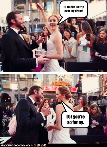 jennifer lawrence,trip,dress,funny,bradley cooper,oscars