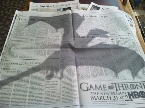 advertisement Game of Thrones clever design newspaper g rated win - 7094504960