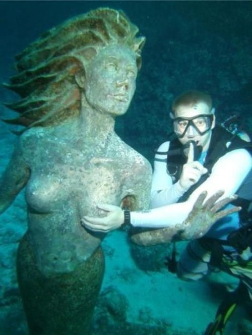 diving,scuba,statue,copping a feel