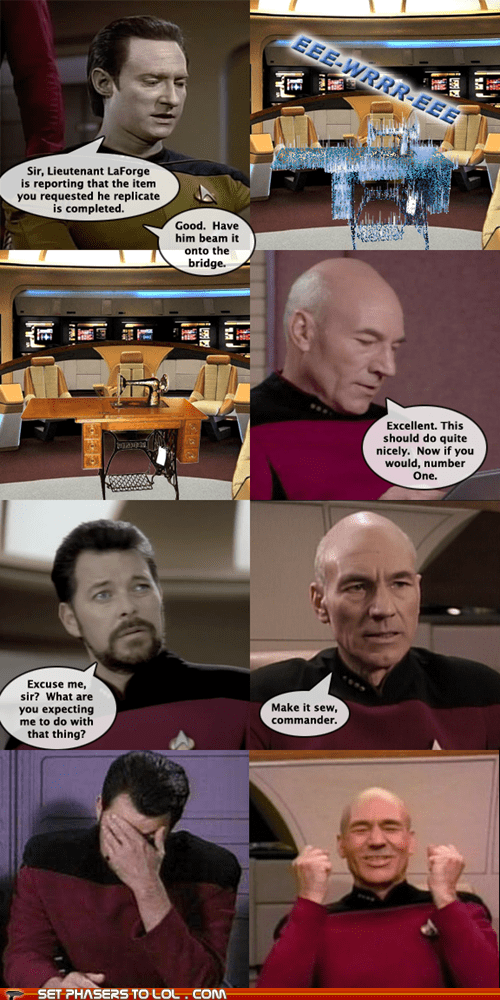 brent spiner,sewing machine,william riker,Captain Picard,puns,Jonathan Frakes,data,Star Trek,make it so,patrick stewart