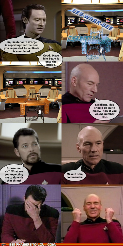 brent spiner sewing machine william riker Captain Picard puns Jonathan Frakes data Star Trek make it so patrick stewart - 7094537728