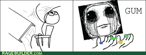 gum,desk flip,school,chewing gum