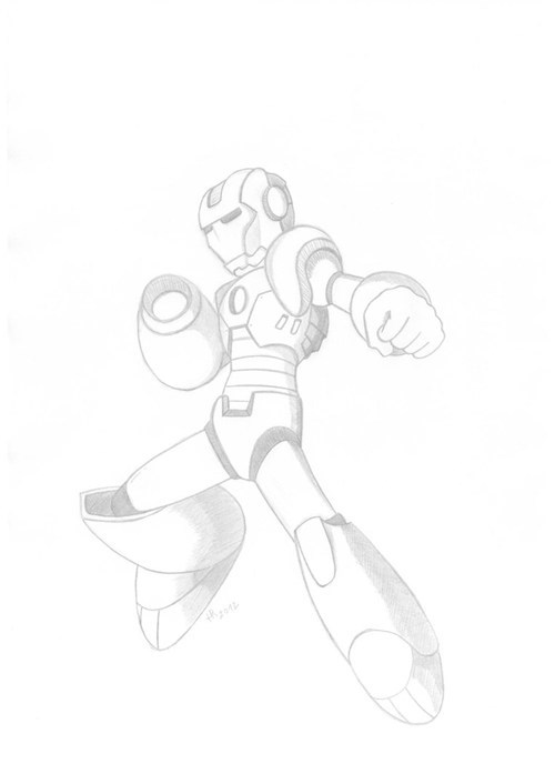 crossover,megaman,iron man