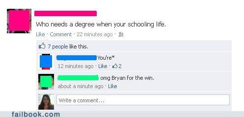 degree,diploma,school,grammar,spelling