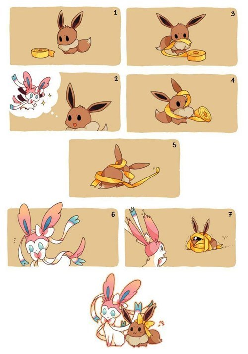 evolution,sylveon,eeveelutions,dawww,eevee,cute