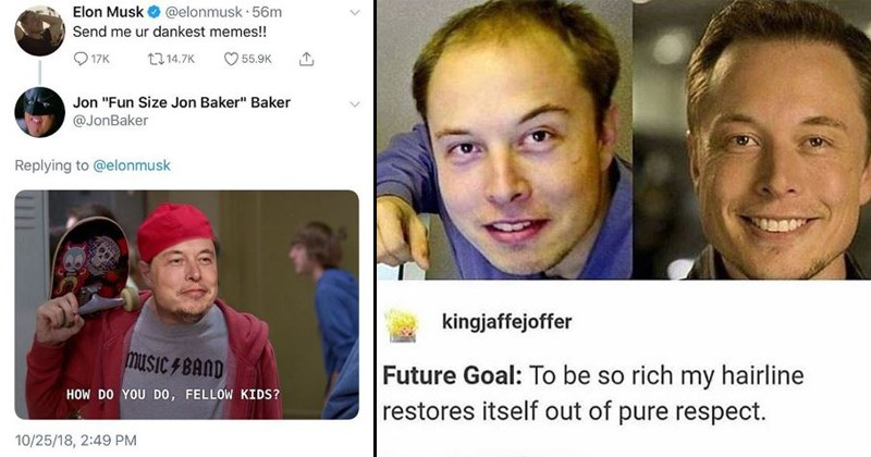 elon musk memes that are funny and will restore your faith | Elon Musk asking for the dankest meme and someone sends how do you do fellow kids with Elon's face on Steve's | Meme about Elon's hair line which has gotten way better over the years, presumably from some expensive treatment